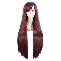 Ultra Long Side Bang Layered Glossy Straight Synthetic Naruto Cosplay Anime Wig - Bourgogne