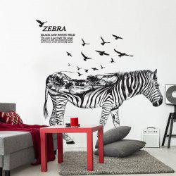 Zebra Animal Living Room Sticker Décoration murale - Noir Bande