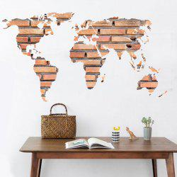 Stone Brick World Map Wall Sticker Home Decoration