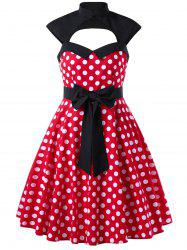 Cut Out Polka Dot 1950s Dress
