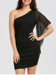 One Shoulder Short Bodycon Dress - BLACK