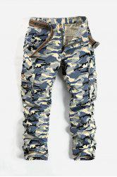 Camouflage Pattern Minitary Cargo Pants - GRAY WHITE CAMOUFLAGE