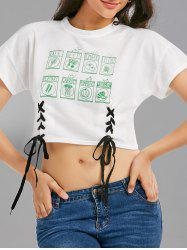 Lace Up Graphic Print Cropped Tee