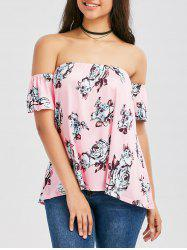 Off Shoulder Floral Print Blouse