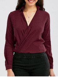 Long Sleeve Shirt Collar Wrap Top