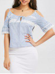 Striped Crochet Cold Shoulder Top