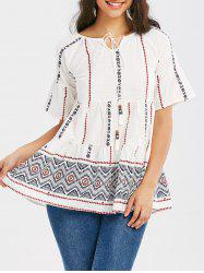 Bell Sleeve Tassel Tribal Print Blouse