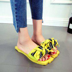 Bowknot Letter Pattern Slippers - YELLOW