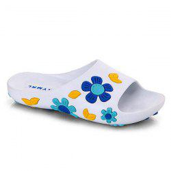 Flat Heel Flower Pattern Slippers - WHITE