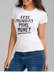 Moins de lundi More Money Graphic T Shirt - Blanc M