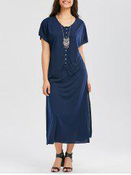 Casual Button Up Maxi T Shirt Dress