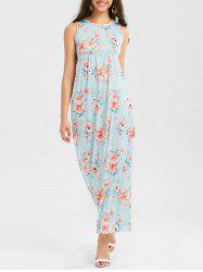 Floor Length Floral Print Tank Dress