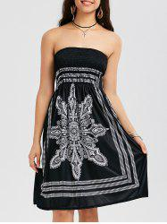Tribal Print Bohemian Strapless Dress