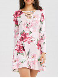Long Sleeve Criss Cross Floral Print Dress
