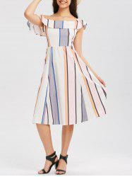 Skew Shoulder Ruffle Striped Dress