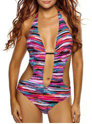Halter Deep V Striped Swimsuit