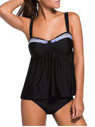 Smocked Push Up Tankini Set - BLACK
