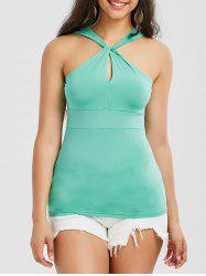 Keyhole Twist Fitted Tank Top