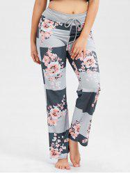 Floral Print Striped Drawstring Pants