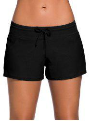 Drawstring Tied Swim Boyshort - Black - L