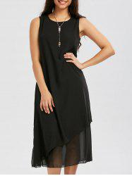 Layered Chiffon Midi Dress - BLACK