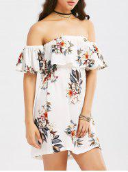 Off The Shoulder Flounce Floral Print Dress - WHITE