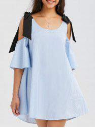 Striped Cold Shoulder Trapeze Mini Dress - BLUE
