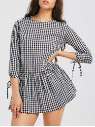 Drop Waist Buttons Plaid Dress