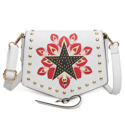 Printed Rivet Crossbody Bag