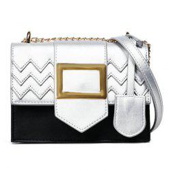 Color Block Chains Crossbody Bag