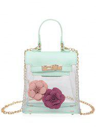 Flower Transparent Clear Handbag - GREEN