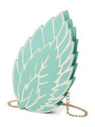 Chain Strap Leaf Mini Crossbody Bag - BLUE GREEN