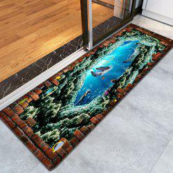 Nautical Dolphin 3D Pattern Water Absorption Flannel Area Rug