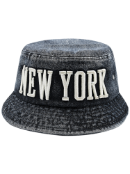 Flat Top Denim Letters Embroidered Bucket Hat - BLACK