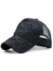Sequin Lace Mesh Splicing Baseball Hat
