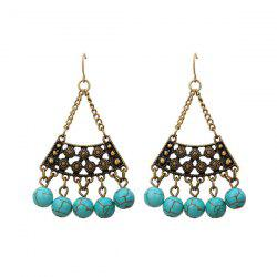 Artificial Turquoise Triangle Tribal Hook Earrings