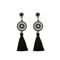 Rhinestone Circle Vintage Tassel Earrings