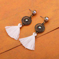 Rhinestone Circle Vintage Tassel Earrings - Blanc