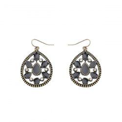 Rhinestone Teardrop Vintage Hook Earrings