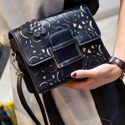 Buckled Laser Cut Crossbody Bag - BLACK