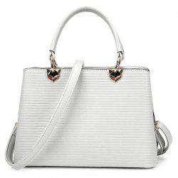 Simple Embossed Convertible Handbag - LIGHT GRAY