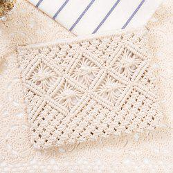 Tassel Crochet Clutch Beach Bag - WHITE