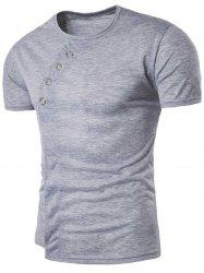 Short Sleeve Metal Embellished Oblique Panel T-shirt
