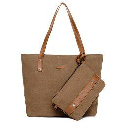 Canvas Tote with Zipper Wristlet Purse - BROWN