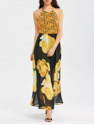 Floral Halter Backless Maxi Prom Dress