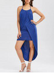 Halter Overlap High Low Hem Dress - BLUE