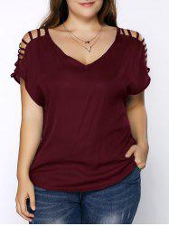 Plus Size V Neck Ripped Sleeve Tee - WINE RED