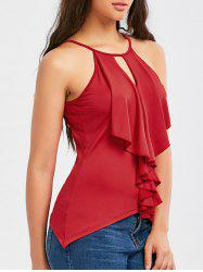 Self Tie Flounce Cut Out Tank Top - Rouge