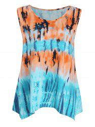 Tie Dye Printed Plus Size Asymmetric Tank Top