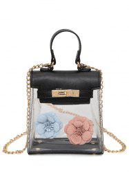 Flower Transparent Clear Handbag - BLACK